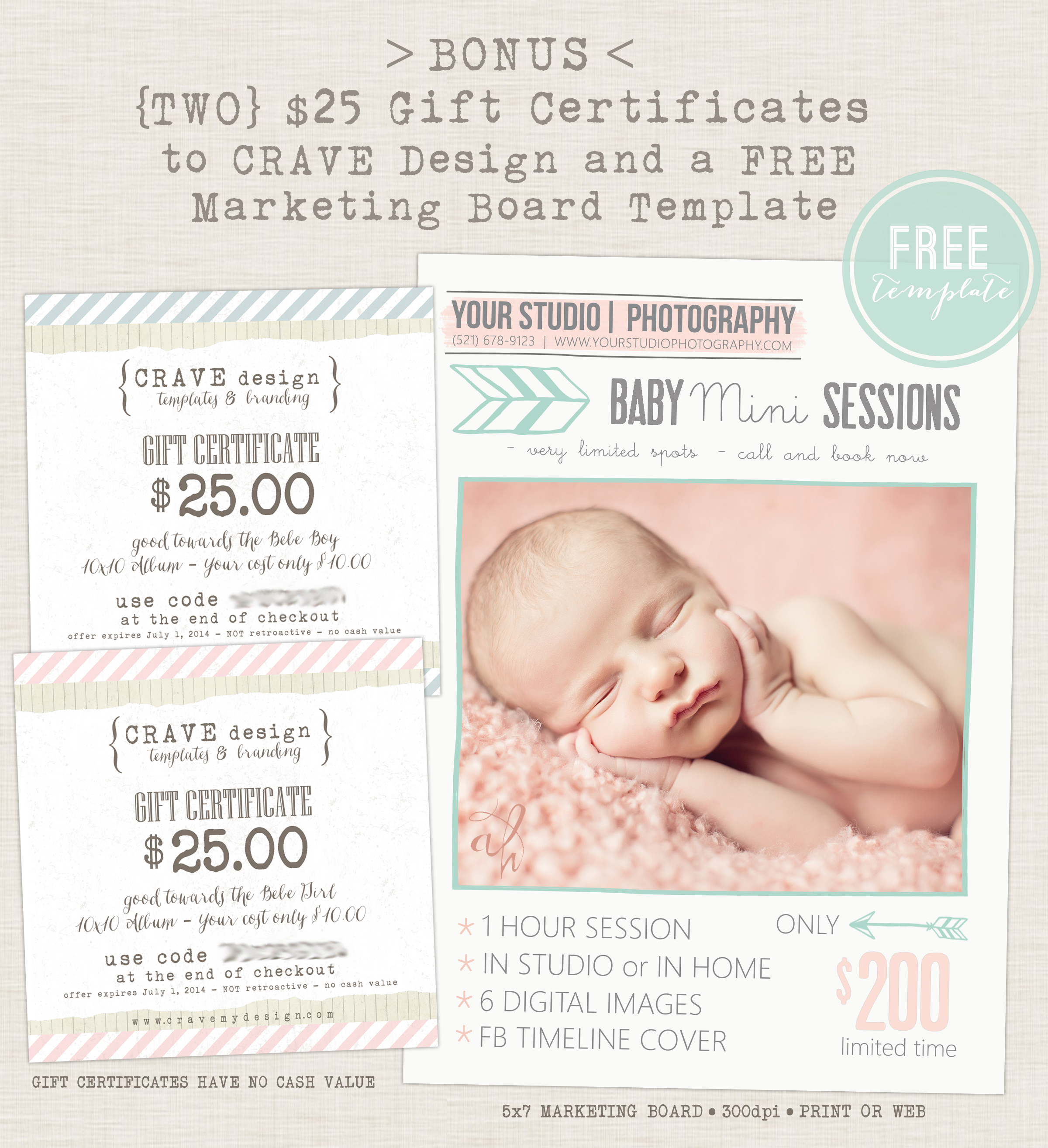 Extended 15 for baby announcement and cddvd bundle from crave this bundle includes 30 layered psd files plus a bounus marketing board template and two 25 gift certificates good towards the bebe boy or bebe girl 10x10 yadclub Gallery