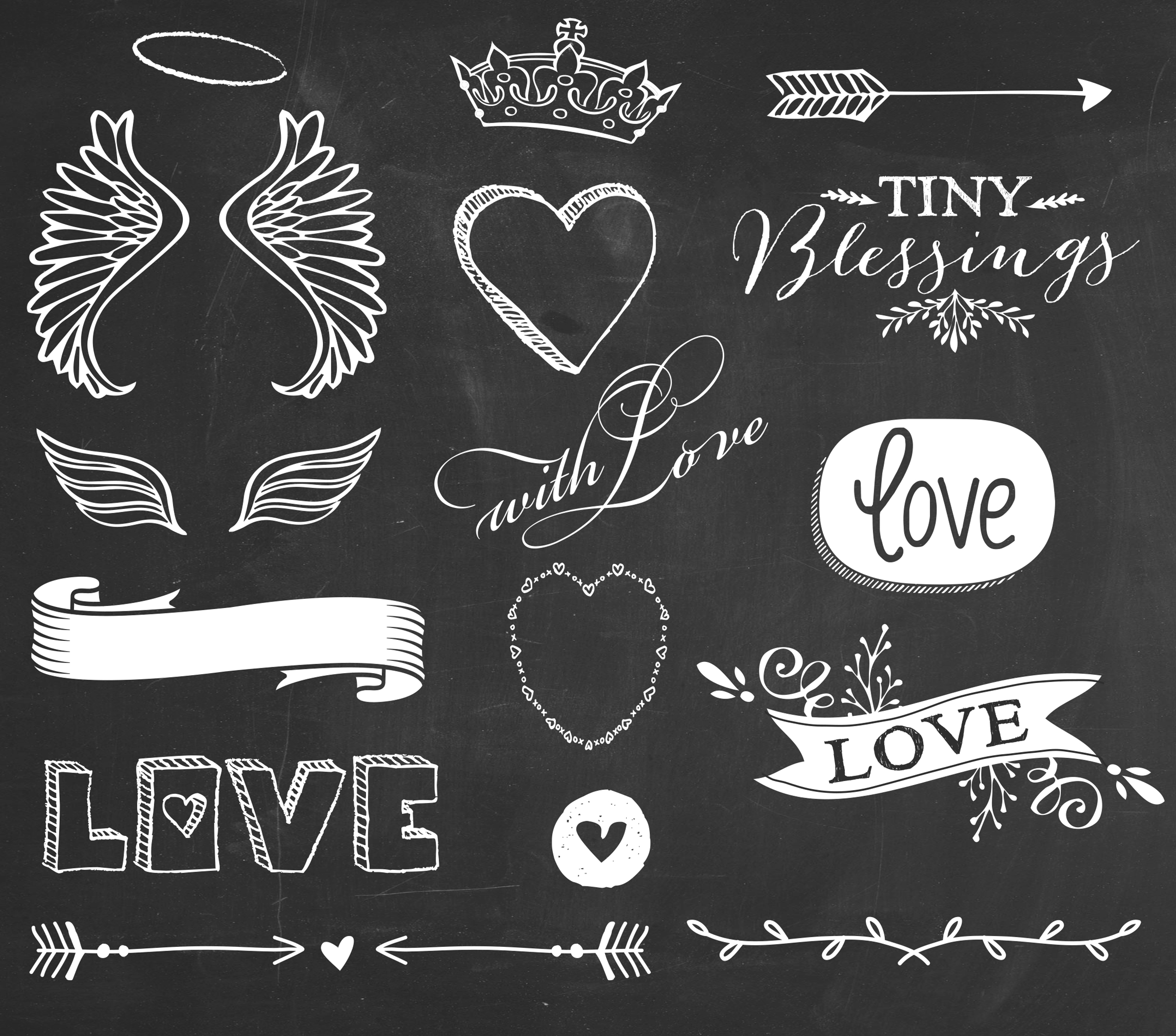 12 For Wings Of Love Chalkboard Overlays BONUS Frames Design Elements Set